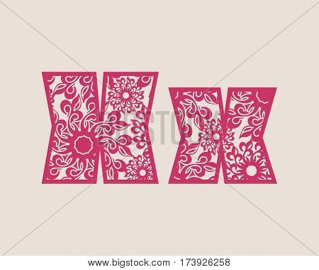 Decorative alphabet vector font. Letter X. Typography for headlines, posters, logos etc. Uppercase and lowercase symbols