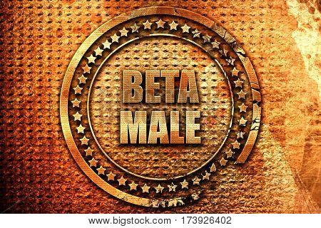 beta male, 3D rendering, metal text