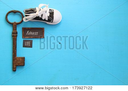 fitness is life concept, art style, key and tag
