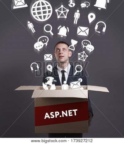 Business, Technology, Internet And Network Concept. Young Businessman Shows The Word: Asp.net
