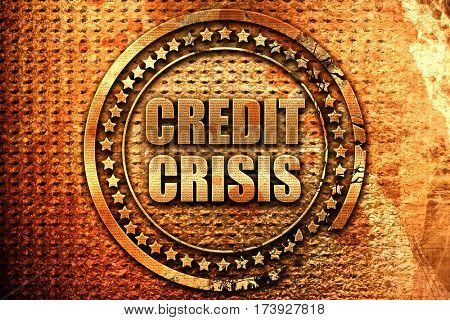 credit crisis, 3D rendering, metal text