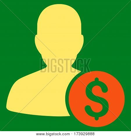 Investor vector pictograph. Illustration style is a flat iconic bicolor orange and yellow symbol on green background.