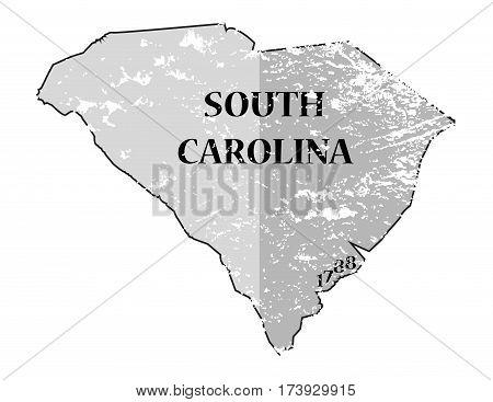 South Carolina State And Date Map Grunged
