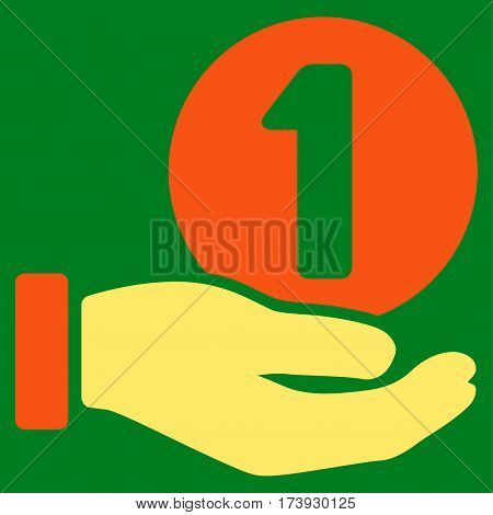One Coin Payment Hand vector pictograph. Illustration style is a flat iconic bicolor orange and yellow symbol on green background.