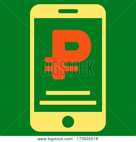 Rouble Mobile Payment vector pictograph. Illustration style is a flat iconic bicolor orange and yellow symbol on green background.