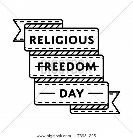Religious Freedom Day emblem isolated vector illustration on white background. 16 january american holiday event label, greeting card decoration graphic element