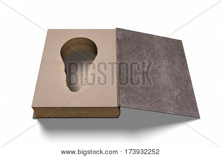 Open Book With Light Bulb Shape Hole Inside, 3D Illustration