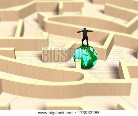 Man Balancing On Globe In Wooden Maze Game