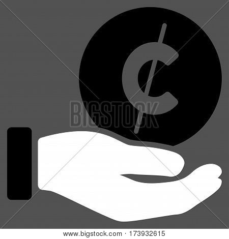 Cent Payment Hand vector pictogram. Illustration style is a flat iconic bicolor black and white symbol on gray background.