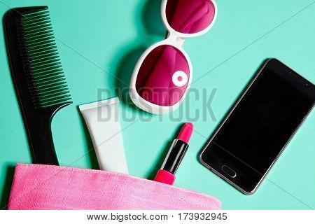 Above View Of Woman Bag Stuff . Set Of Female Cosmetics And Accessories. Glamour Tools And Beauty Ob