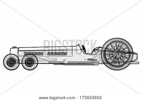 Overly long car looks like limousine. Ancient car with six wheels made in contour lines. Black and white outlined car isolated on white background. Historical master vector illustration.