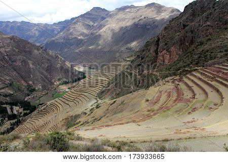 Inca structures in the urban sector of Pisac. Sacred Valley of the Incas.