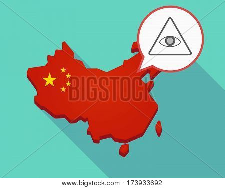 Map Of China With An All Seeing Eye