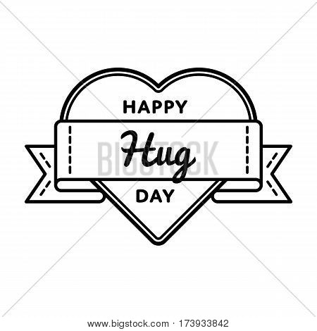 Happy Hug Day emblem isolated vector illustration on white background. 21 january world social holiday event label, greeting card decoration graphic element