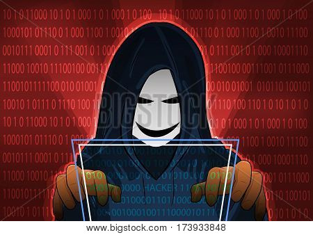 computer hacker of hooded man with binary data