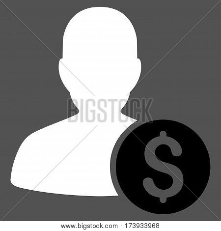 Investor vector pictogram. Illustration style is a flat iconic bicolor black and white symbol on gray background.