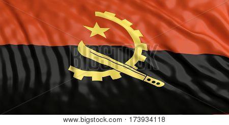 Waiving Angola Flag. 3D Illustration