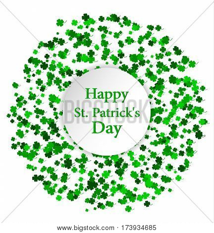 St. Patrick's Day greeting card. Circle made of four leaf clover with white circle inside. Vector illustration