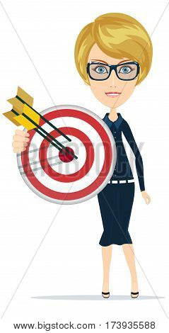 Business woman holding Marketing target with arrow. Arrow hitting the center of target - flat success business concept, vector illustration