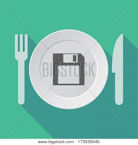 Long Shadow Dishware With A Floppy Disk