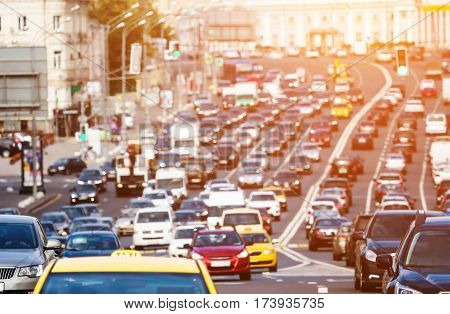 Heavy traffic on the city highway in Moscow