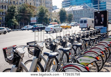 MOSCOW - AUGUST 19 2016: Close-up view of bicycles at the rental station on Sadovaya-Chernogryazskaya street. The pilot project of urban bike rental started in 2013.