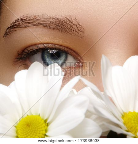 Beautiful Female Eye. Clean Skin, Fashion Natural Make-up. Good Vision. Spring Natural Look With Cha