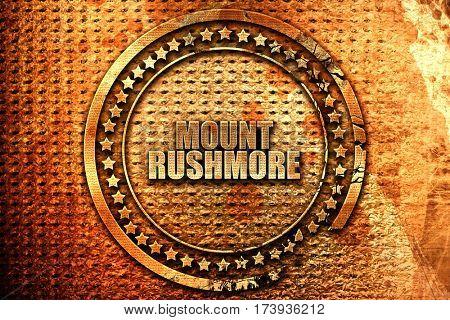mount rushmore, 3D rendering, metal text