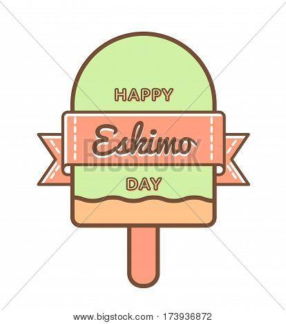Happy Eskimo Day emblem isolated vector illustration on white background. 24 january world food holiday event label, greeting card decoration graphic element