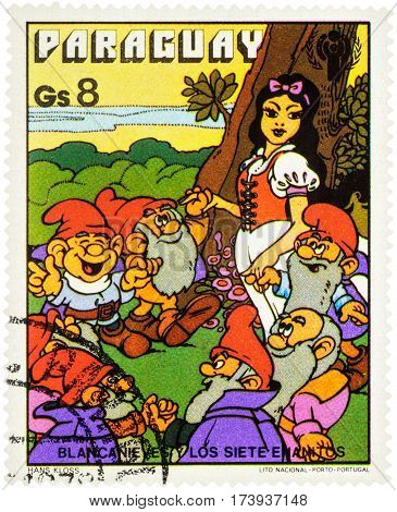 MOSCOW RUSSIA - February 28 2017: A stamp printed in Paraguay shows Seven Dwarfs and Snow White series