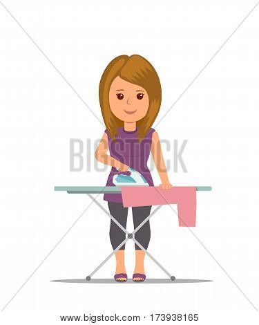 Cartoon woman housewife ironing clothes on iron board. Modern girl busy household chores. Concept design housework in flat style.