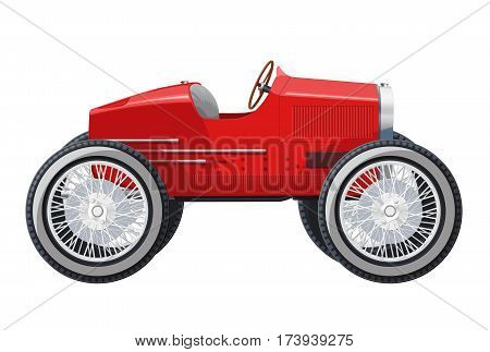 Overly short car looks like limousine. Ancient red car with big wheels made in contour lines. Colored funny car isolated on white background. Historical master vector illustration.