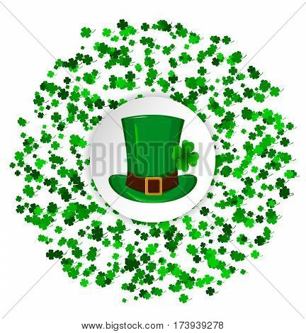 St. Patrick's Day greeting card. Circle made of four leaf clover and green hat in the middle. Vector illustration