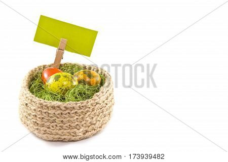 Easter Eggs In A Basket.painted Quail Eggs. Knitted Basket Of Jute, Sisal Green.