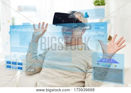 technology, augmented reality, gaming, entertainment and people concept - happy senior man in headset or 3d glasses with virtual screens