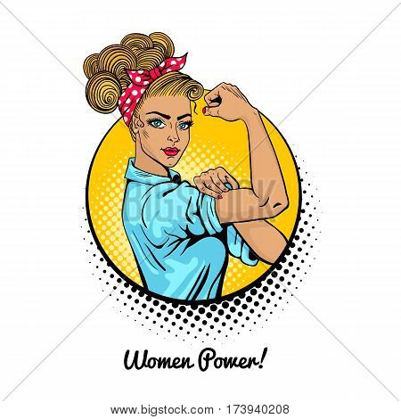 Women Power. Pop Art Sexy Strong Blonde Girl In A Circle On White Background. Classical American Sym
