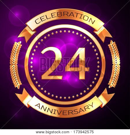 Twenty four years anniversary celebration with golden ring and ribbon on purple background.