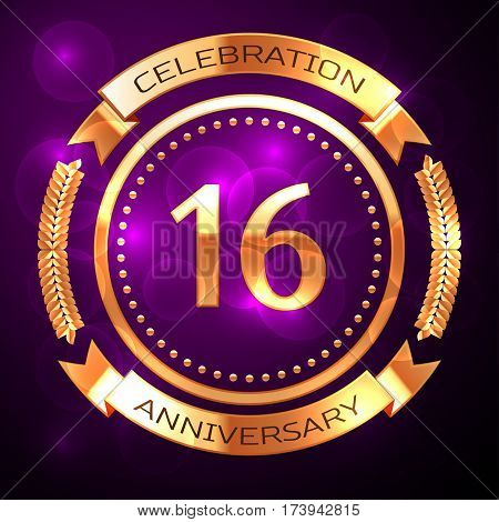 Sixteen years anniversary celebration with golden ring and ribbon on purple background.