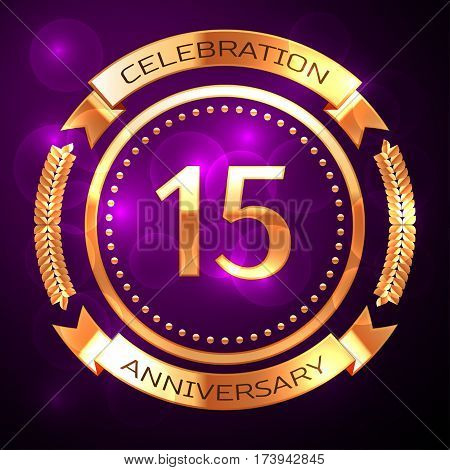 Fifteen years anniversary celebration with golden ring and ribbon on purple background.