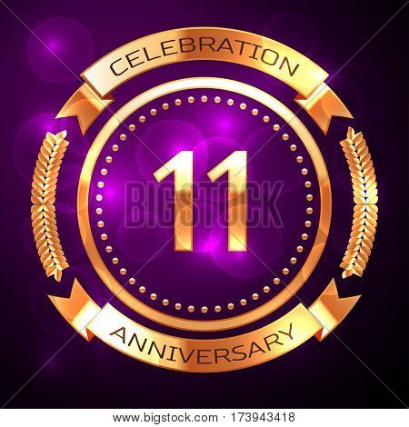 Eleven years anniversary celebration with golden ring and ribbon on purple background.