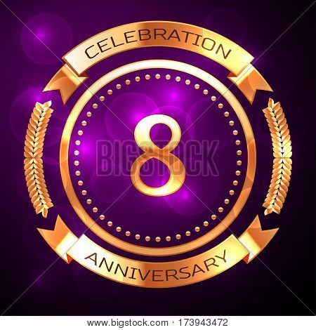 Eight years anniversary celebration with golden ring and ribbon on purple background.