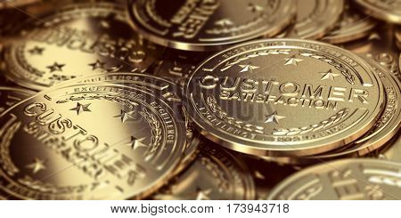 Many golden medals with stars and the text Customer Satisfaction and Excellence Horizontal 3D illustration.