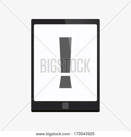 Isolated Tablet Pc With An Admiration Sign