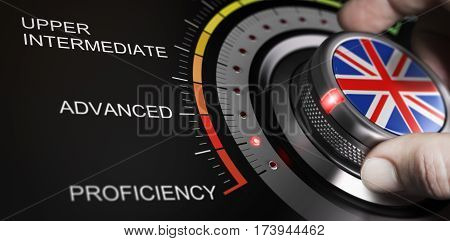 Man turning button with english flag up to proficiency level. Scale of language and progress measurement cncept. Composite image between a hand photography and a 3D background.