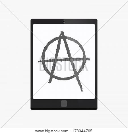 Isolated Tablet Pc With An Anarchy Sign