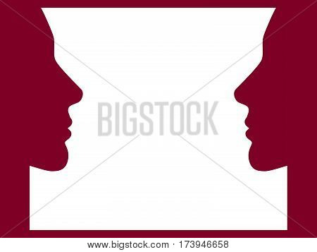 Face to face. Women face look at each other. Vector illustration