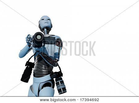 Die Figur des Roboters mit einer Kamera auf einem weißen Hintergrund