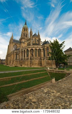 Bayeux Cathedral a Norman-Romanesque cathedral located in Bayeux Normandy France. Consecrated in 1077 poster