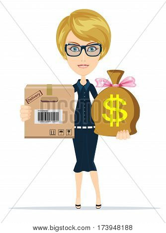 Express Cargo Delivery Icon. Special delivery with businesswoman. Business character holding cardboard box and money for payment . Isolated on white background. Stock vector illustration