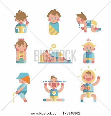 Set of cute small babies in action. Different activities. Young age boys and girls. Playing baby, sleeping baby, crying baby. First steps and daily affairs. Game flat vector illustration.